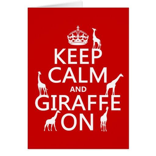 Guarde la calma y la jirafa en (los colores del pe tarjeta de felicitación
