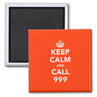 Guarde la calma y la llamada 999 imán cuadrado
