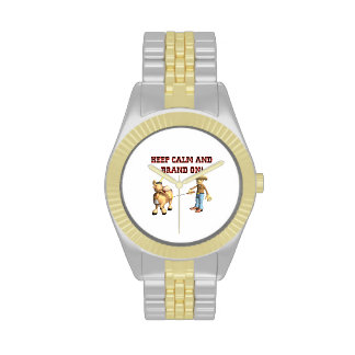 Guarde la calma y la marca encendido relojes de pulsera