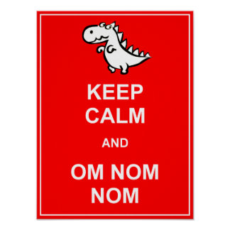 Guarde la calma y la muestra del poster del dinosa