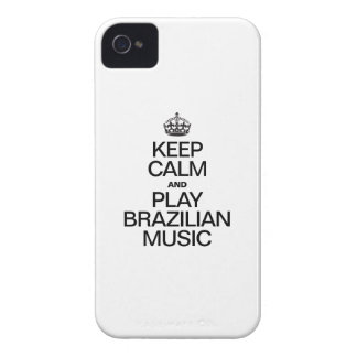 GUARDE LA CALMA Y LA MÚSICA DEL BRASILEN@O DEL iPhone 4 FUNDAS