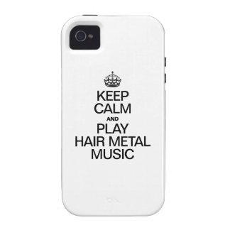 GUARDE LA CALMA Y LA MÚSICA DEL METAL DEL PELO DEL VIBE iPhone 4 FUNDA