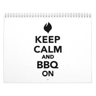 Guarde la calma y la parrilla del Bbq encendido Calendario De Pared