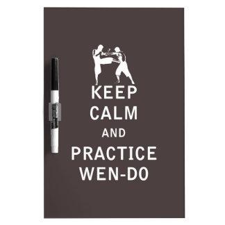 Guarde la calma y la práctica Wen-Hace Pizarras Blancas