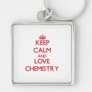 Guarde la calma y la química del amor llaveros personalizados