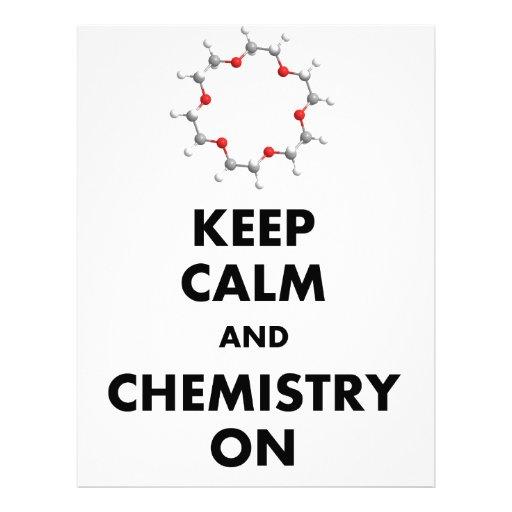 Guarde la calma y la química encendido membrete personalizado