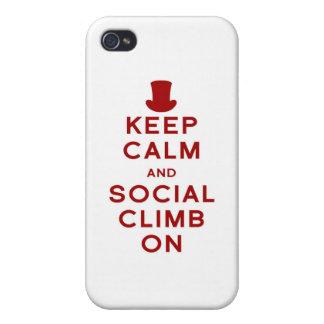 Guarde la calma y la subida social encendido iPhone 4/4S carcasa