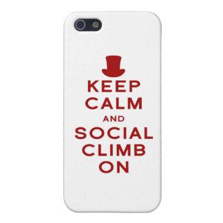 Guarde la calma y la subida social encendido iPhone 5 carcasas