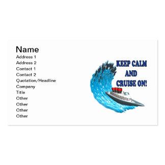 Guarde la calma y la travesía encendido tarjetas de visita