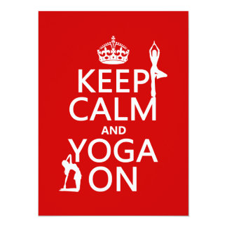 """Guarde la calma y la yoga en (los colores del invitación 5.5"""" x 7.5"""""""