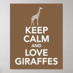 Guarde la calma y las jirafas del amor imprimen o