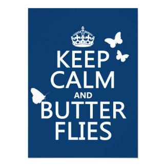 """Guarde la calma y las mariposas (cualquier color invitación 5.5"""" x 7.5"""""""