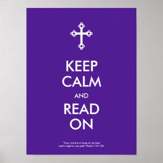 Guarde la calma y lea en el poster