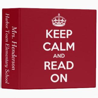 """Guarde la calma y lea en el rojo personalizado carpeta 2"""""""