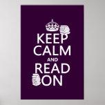 Guarde la calma y lea en (en cualquier color) posters
