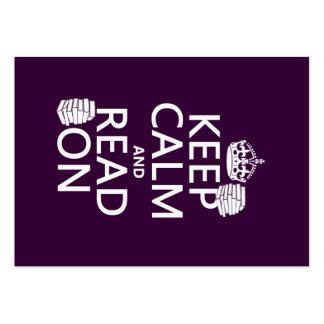 Guarde la calma y lea en (en cualquier color) tarjetas de visita