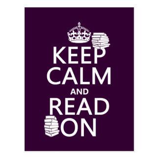 Guarde la calma y lea en (en cualquier color) postales