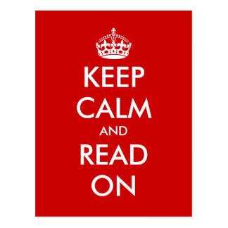 Guarde la calma y lea en la postal