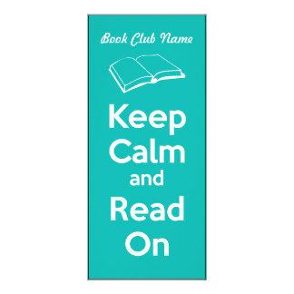 Guarde la calma y lea en marca de libro diseños de tarjetas publicitarias