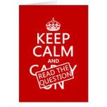 Guarde la calma y lea la pregunta (todos los color felicitaciones
