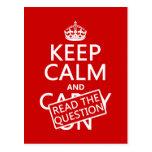 Guarde la calma y lea la pregunta (todos los color tarjetas postales