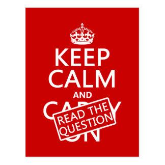 Guarde la calma y lea la pregunta (todos los color postal