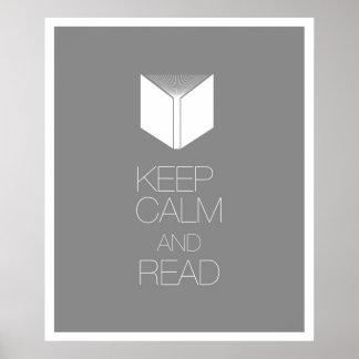 Guarde la calma y lea póster