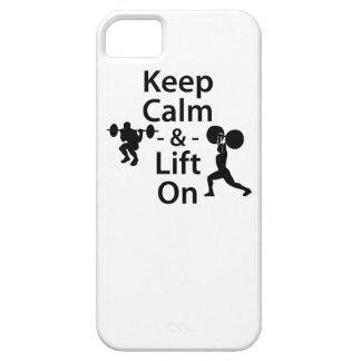 Guarde la calma y levante encendido iPhone 5 carcasa