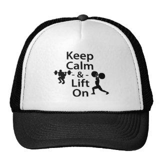 Guarde la calma y levante encendido gorras de camionero