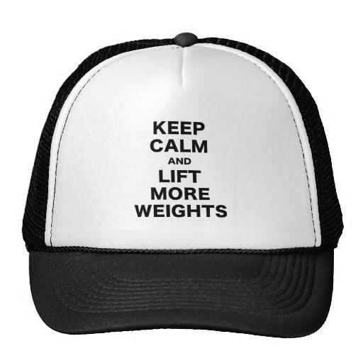 Guarde la calma y levante más pesos gorra