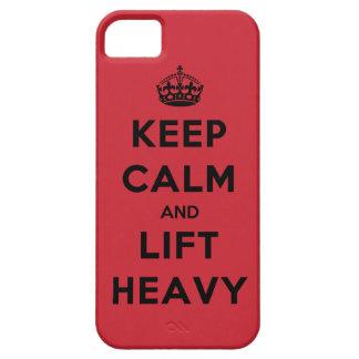 Guarde la calma y levante pesado iPhone 5 carcasa