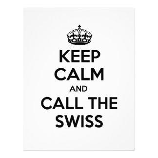 Guarde la calma y llame a los suizos membrete personalizado