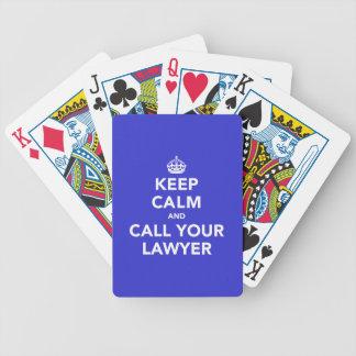Guarde la calma y llame a su abogado baraja de cartas