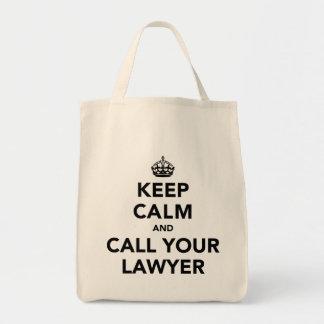 Guarde la calma y llame a su abogado bolsa tela para la compra