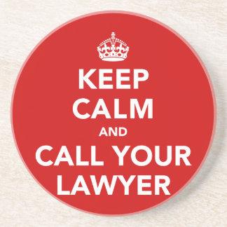 Guarde la calma y llame a su abogado posavasos para bebidas