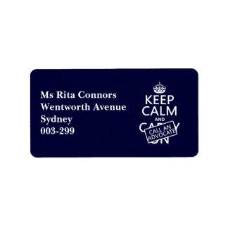 Guarde la calma y llame a un abogado (en cualquier etiquetas de dirección