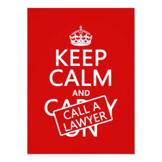 """Guarde la calma y llame a un abogado (en cualquier invitación 5.5"""" x 7.5"""""""