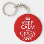Guarde la calma y llame a un abogado (en cualquier llaveros