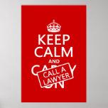 Guarde la calma y llame a un abogado (en cualquier poster