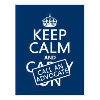 Guarde la calma y llame a un abogado (en cualquier postal