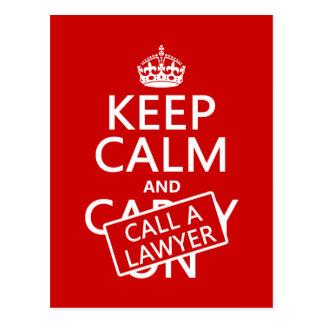 Guarde la calma y llame a un abogado (en cualquier postales