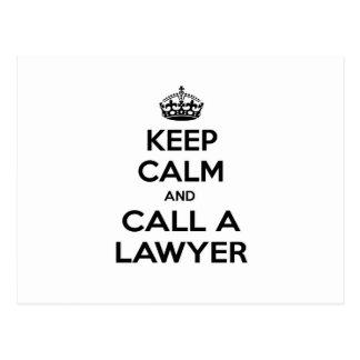 Guarde la calma y llame a un abogado tarjetas postales