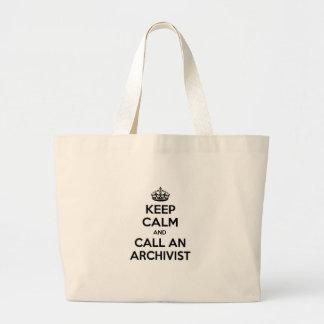 Guarde la calma y llame a un archivista bolsa tela grande