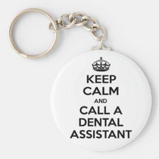 Guarde la calma y llame a un ayudante de dentista llavero redondo tipo pin