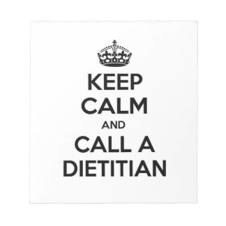 Guarde la calma y llame a un dietético blocs de notas
