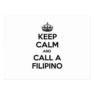 Guarde la calma y llame a un filipino tarjeta postal