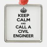 Guarde la calma y llame a un ingeniero civil ornamento de navidad