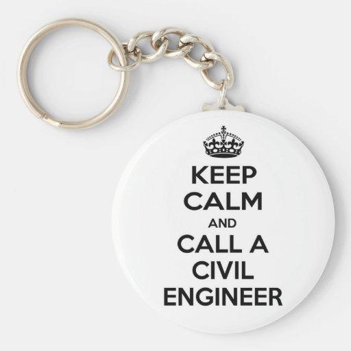 Guarde la calma y llame a un ingeniero civil llavero redondo tipo pin