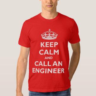 Guarde la calma y llame a un ingeniero playeras