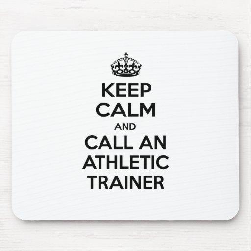 Guarde la calma y llame a un instructor atlético alfombrilla de ratones